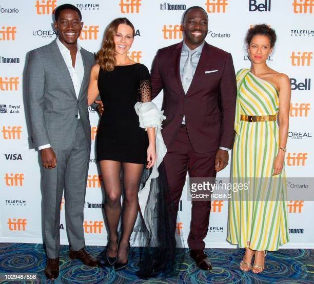 British actor Damson Idris actress Kate Beckinsale director/actor Adewale AkinnuoyeAgbaje and actress Gugu MbathaRaw attend the premiere of 'Farming'...