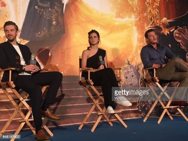 British actor Dan Stevens, British actress Emma Watson, Welsh actor and singer Luke Evans attend the press conference of American director Bill...