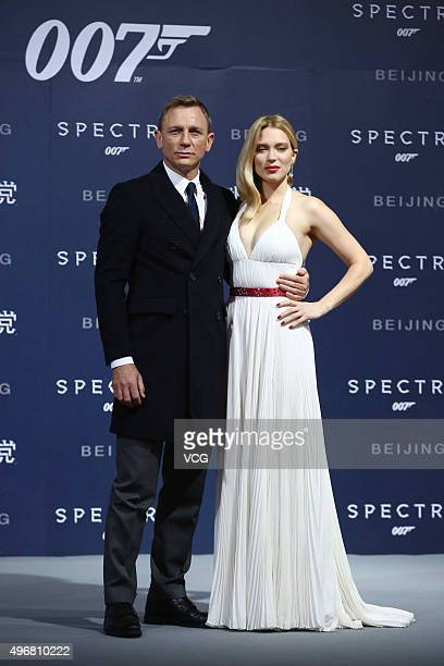 British actor Daniel Craig and French model and actress Lea Seydoux attend premiere of new film Spectre directed by British actor and director Sam...