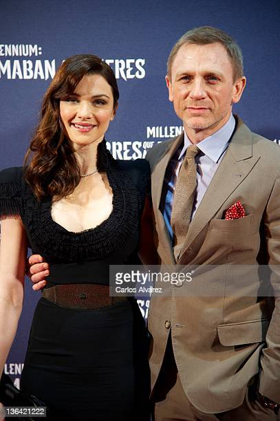 British actor Daniel Craig and his wife Rachel Weisz attend 'The Girl With The Dragon Tattoo' premiere at Callao cinema on January 4 2012 in Madrid...
