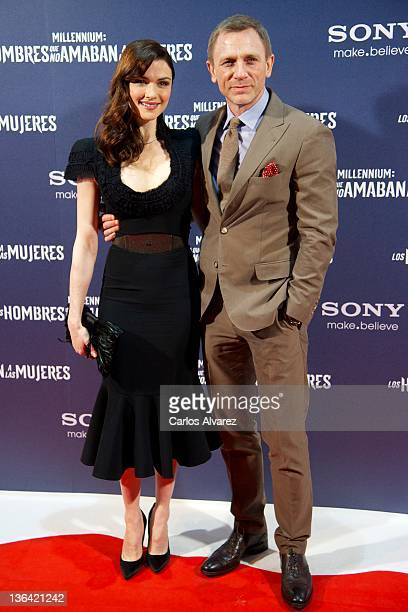 British actor Daniel Craig and his wife Rachel Weisz attend The Girl With The Dragon Tattoo premiere at Callao cinema on January 4 2012 in Madrid...