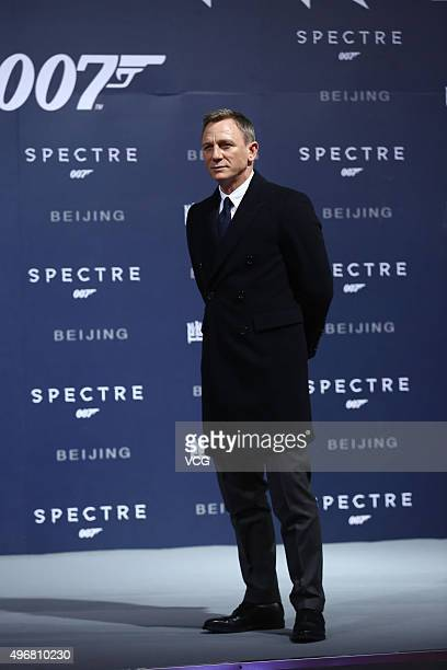 British actor Daniel Craig attends premiere of new film Spectre directed by British actor and director Sam Mendes on November 12 2015 in Beijing China