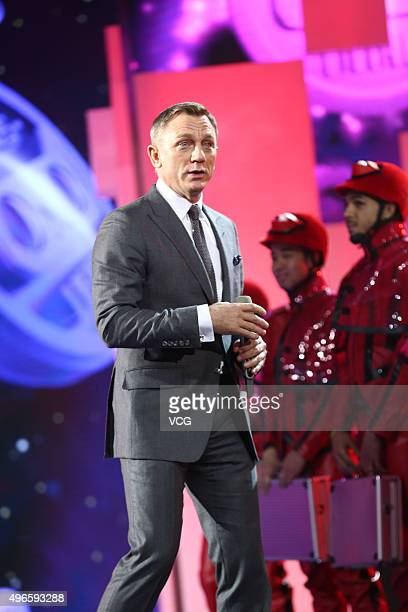 British actor Daniel Craig attends the ceremony of 2015 Tmall 1111 Global Shopping Festival at the Water Cube on November 10 2015 in Beijing China...