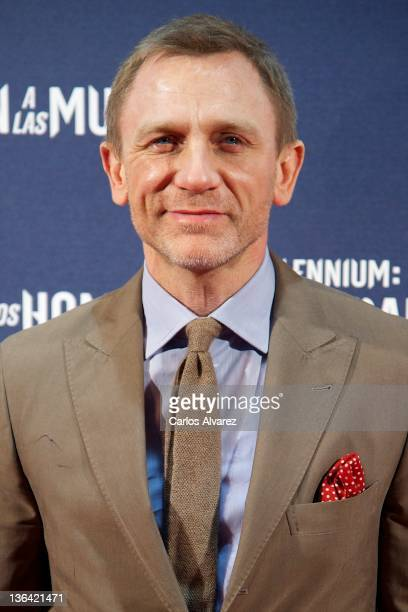 British actor Daniel Craig attends 'The Girl With The Dragon Tattoo' premiere at Callao cinema on January 4 2012 in Madrid Spain