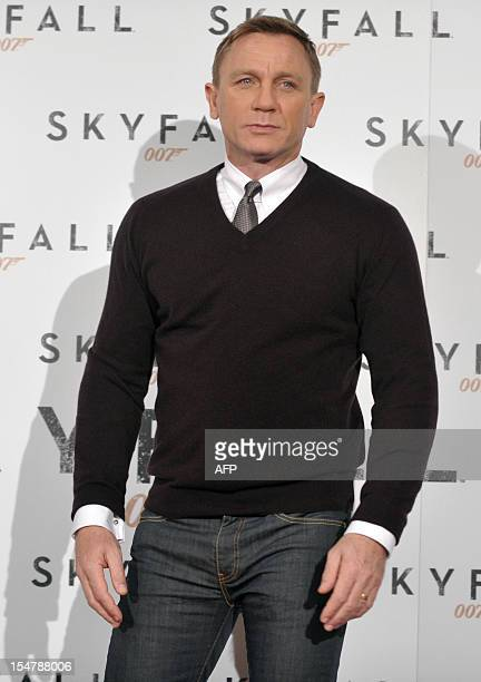 British actor Daniel Craig poses during the photocall for the new James Bond film Skyfall on October 26 2012 at a hotel in Rome Critics in Britain...