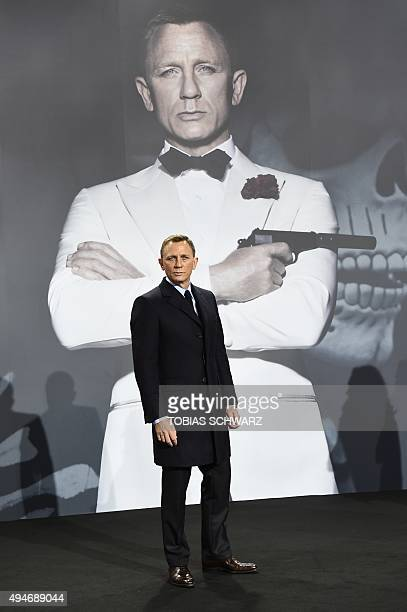 British actor Daniel Craig poses for photographers at a photocall for the new James Bond film 'Spectre' on October 28 2015 in Berlin AFP PHOTO /...