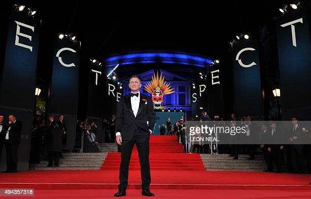 British actor Daniel Craig poses on arrival for the world premiere of the new James Bond film 'Spectre' at the Royal Albert Hall in London on October...