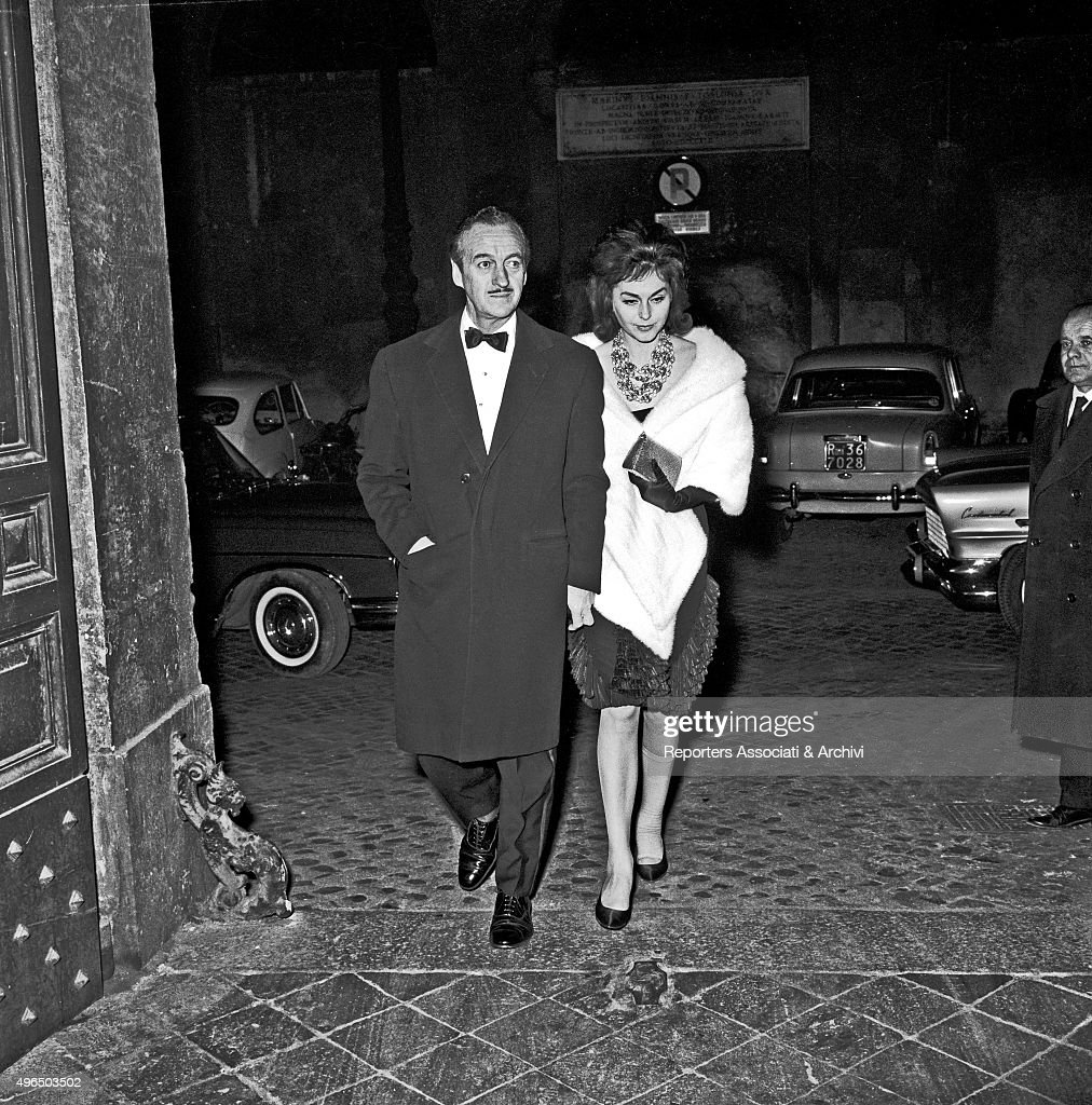David Niven and his wife Hjordis Paulina Tersmeden in Rome : News Photo