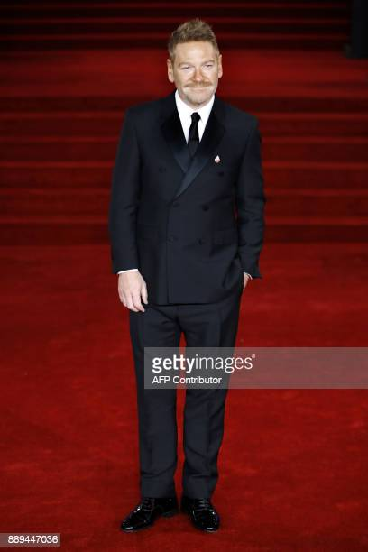 British actor director producer Kenneth Branagh poses upon arrival to attend the world premiere of the film 'Murder on the Orient Express' at the...