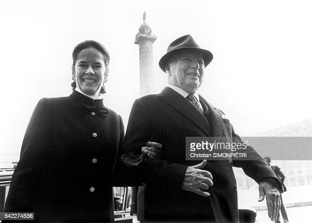British actor director screenwriter and producer Charles Chaplin on visit in Paris with his last wife Oona O'Neill
