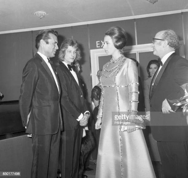 British actor Dirk Bogarde and his costar in the film 'Death in Venice' Bjorn Andresen meeting Princess Anne at the Royal Charity Premiere of the...