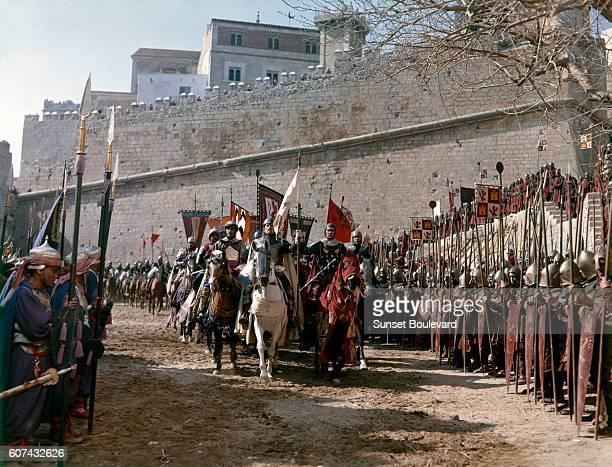 British actor Douglas Wilmer American Charlton Heston and Scottish John Fraser on the set of El Cid directed by Anthony Mann