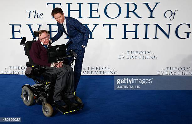 British actor Eddie Redmayne pose with British scientist Stephen Hawking at the UK premiere of the film 'The Theory of Everything' in London on...