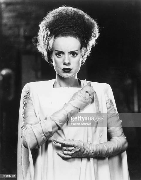 British actor Elsa Lanchester is dressed in costume in a promotional portrait for director James Whale's film 'The Bride of Frankenstein'