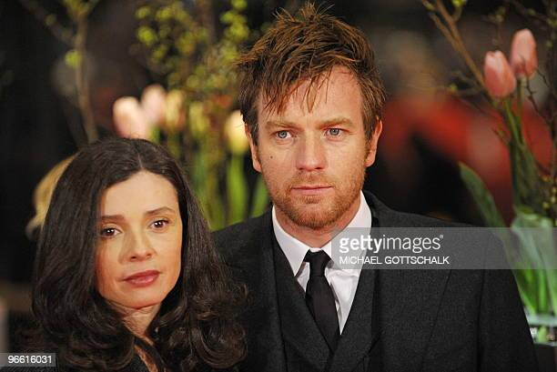 British actor Ewan McGregor and Eve Mavrakis arrive on the red carpet ahead of the premiere of the movie The Ghost Writer by Roman Polanski during...