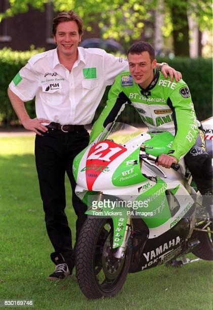 British actor Ewan McGregor with Yamaha motorcycle rider Pete Graves during a photocall in London where McGregor and fellow actor Charlie Boorman...