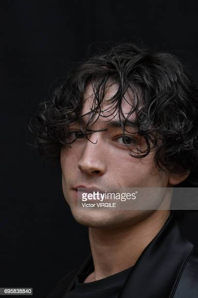 British Actor Ezra Miller attends the Vivenne Westwood fashion show during the London Fashion Week Men's June 2017 Spring Summer 2018 collections on...