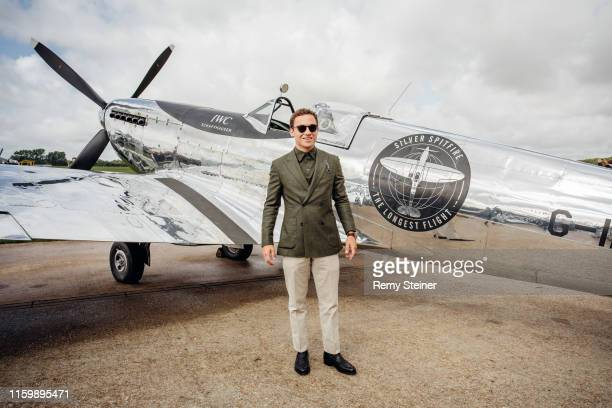 British actor Finn Cole attending the celebration of the official start of the Silver Spitfire The Longest Flight expedition at Goodwood on August 5...