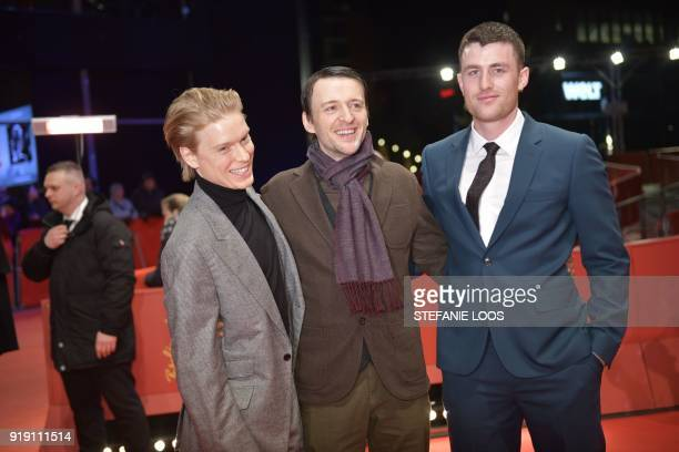 British actor Freddie Fox Irish director Lance Daly and Australian actor James Frecheville pose on the red carpet upon arrival for the premiere of...