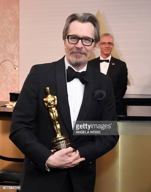 British actor Gary Oldman winner of Best Actor for Darkest Hour poses in the with the Oscar during the 90th Annual Academy Awards on March 4 in...