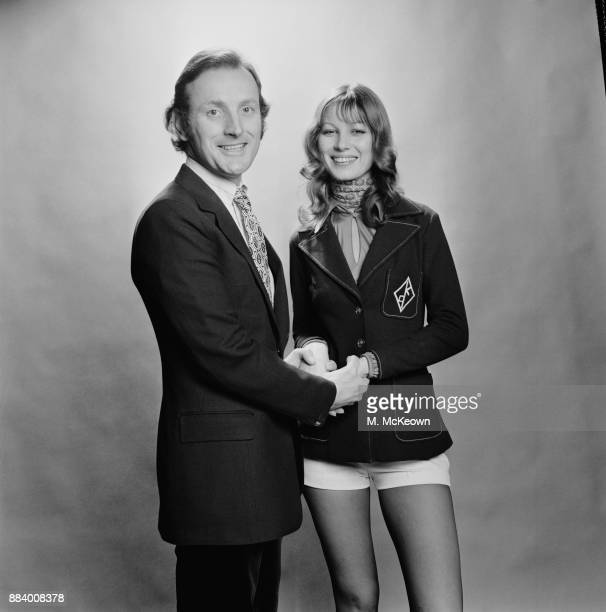 British actor Gerald Harper with fashion model Caroline Foley wearing blazers for a fashion campaign UK 2nd April 1971