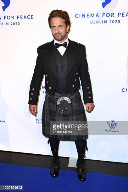 British actor Gerard Butler attends the Cinema for peace gala 2020 during the 70th Berlinale International Film Festival Berlin at WECC on February...