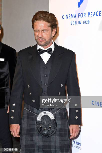 "British actor Gerard Butler attends the ""Cinema for peace"" gala 2020 during the 70th Berlinale International Film Festival Berlin at WECC on February..."