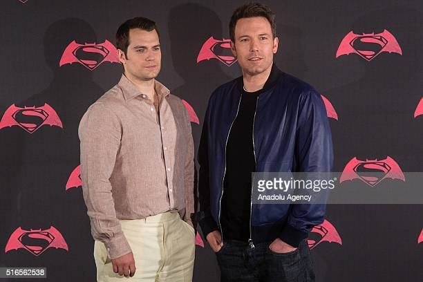 British actor Henry Cavill and American actor Ben Affleck pose for pictures during the Batman v Superman Movie photocall at St Regis Hotel in Mexico...