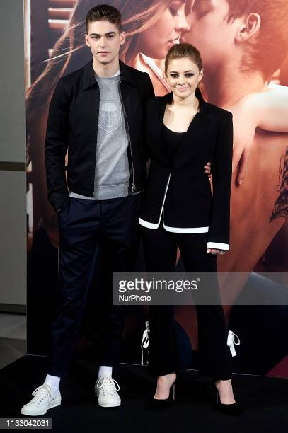 British actor Hero FiennesTiffin and australian actress Josephine Langford during the presentation of film 'After' in Madrid Spain Mar 26 2019