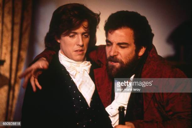 "British actor Hugh Grant and American actor Mandy Patinkin on the set of ""Impromptu"", by American director and screenwriter James Lapine. 
