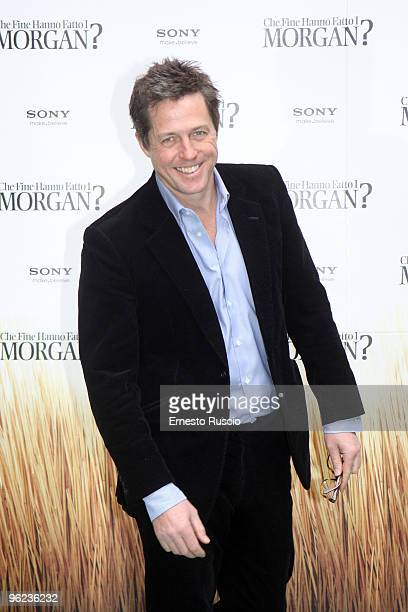 British actor Hugh Grant attends 'Did You Hear About the Morgans' photocall at the Hotel Hassler on January 28 2010 in Rome Italy