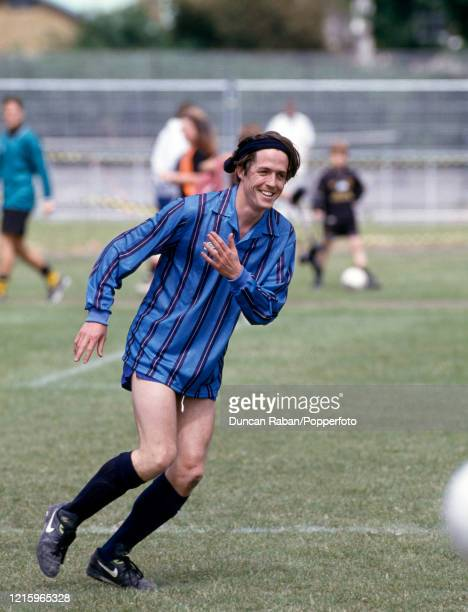 British actor Hugh Grant playing in a a charity football match on 19 June, 1994 in London, England.