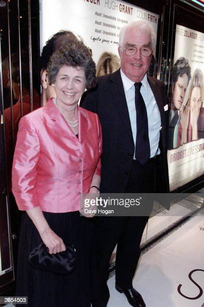 """British actor Hugh Grant's parents arrive at the UK premiere of the film """"Bridget Jones' Diary"""" at the Empire Cinema Leicester Square on March 10,..."""