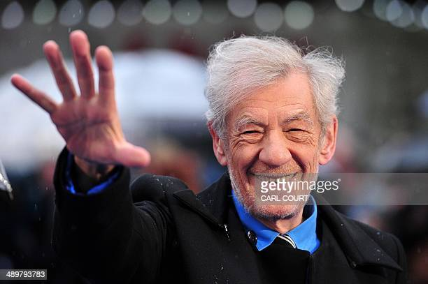 British actor Ian McKellan arrives for the UK premiere of 'X-Men Days of Future Past' in central London, on May 12, 2014. AFP PHOTO / CARL COURT