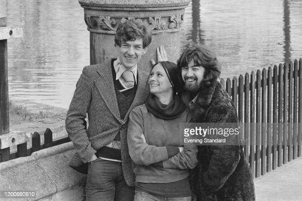 British actor Ian McKellen, British actress Francesca Annis and British theatre director Trevor Nunn pose together at a photocall for the Royal...