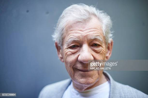 British actor Ian McKellen poses for a portrait during an interview with AFP in central London on April 22, 2016 - Best known internationally for...