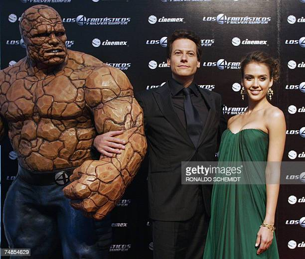 British actor Ioan Grudffudd and American actress Jessica Alba , pose next to the character Ben Grimm/The Thing, on the red carpet during the...