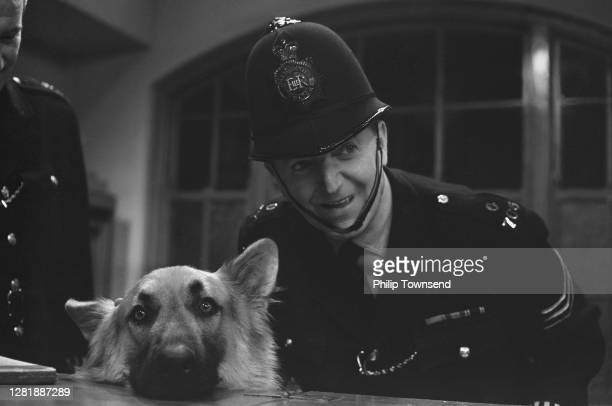 British actor Jack Warner and Alsatian dog Shane appear in the BBC television series 'Dixon of Dock Green', UK, August 1965.