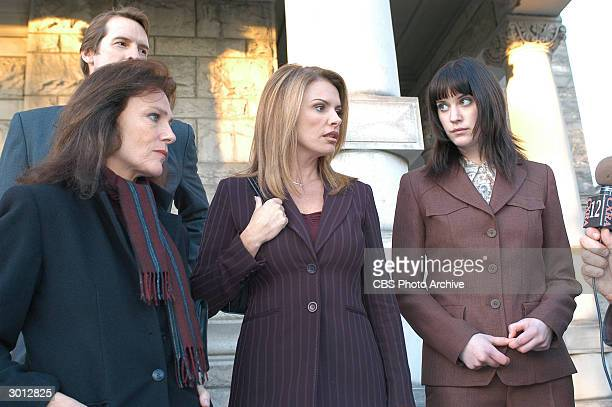 British actor Jacqueline Bisset and Roma Downey and Canadian actor Lauren Lee Smith stand on the steps of a courthouse and answer reporter's...