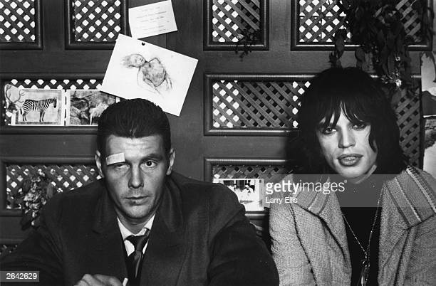 British actor James Fox and rock star Mick Jagger on the set of the film 'Performance'