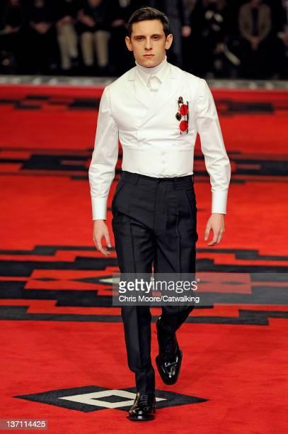 British actor Jamie Bell walks the runway at the Prada Autumn Winter 2012 fashion show during Milan Menswear Fashion Week on January 15 2012 in Milan...