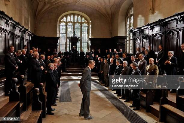 British actor Jeremy Irons as mathematician G H Hardy in the biographical film 'The Man Who Knew Infinity' 2015 On the right in uniform is Toby Jones...