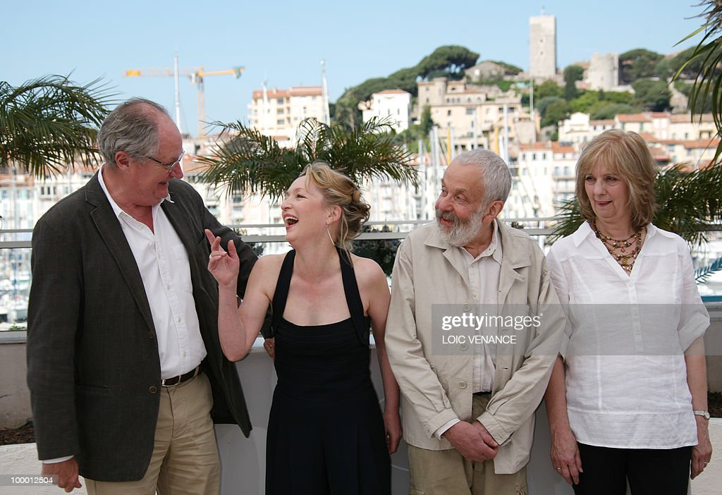 British actor Jim Broadbent, British actress Lesley Manville, British director Mike Leigh and British actress Ruth Sheen pose during the photocall of 'Another Year' presented in competition at the 63rd Cannes Film Festival on May 15, 2010 in Cannes.