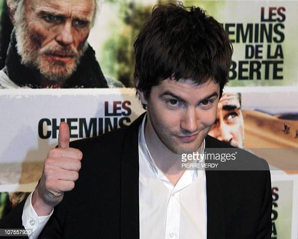 British actor Jim Sturgess gestures during the photocall of Australian film director Peter Weir's movie The Way Back Les chemins de la liberte on...