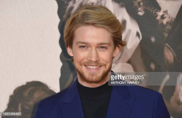 British actor Joe Alwyn poses upon arrival for the UK premiere of the film 'The Favourite' during the BFI London Film Festival in London on October...