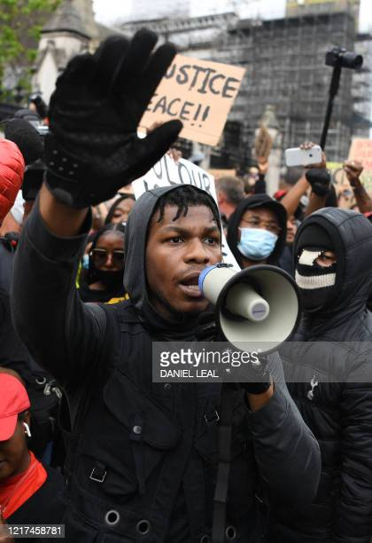 British actor John Boyega speaks to protestors in Parliament square during an antiracism demonstration in London on June 3 after George Floyd an...