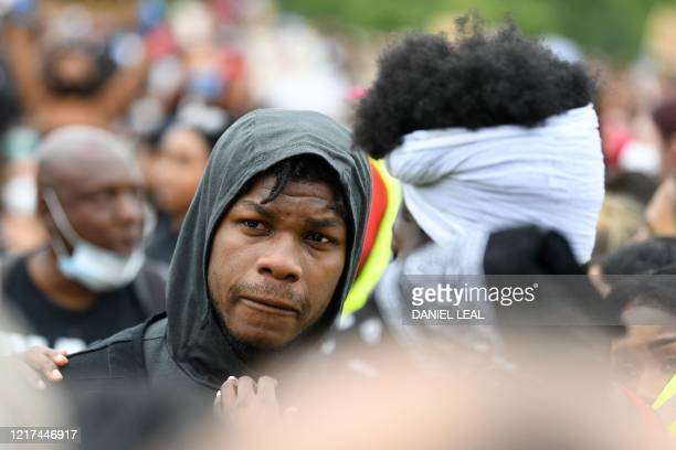 British actor John Boyega takes part in an antiracism demonstration in London on June 3 after George Floyd an unarmed black man died during an arrest...