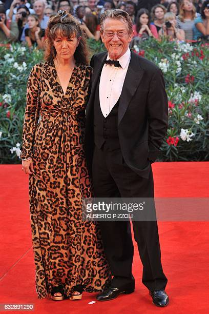 British actor John Hurt and his wife Anwen Rees Meyers arrive for the screening of Tinker Tailor Soldier Spy at the 68th Venice Film Festival on...