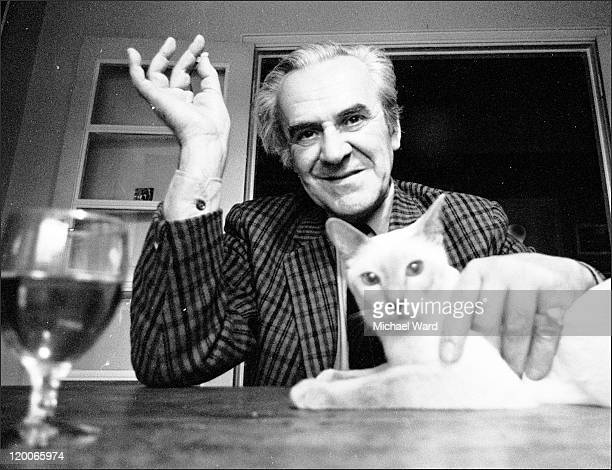British actor John Le Mesurier with his cat 1971
