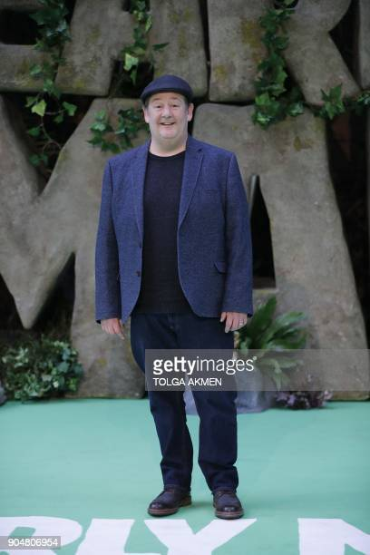 British actor Johnny Vegas oses on the carpet arriving to attend the world premiere of the film Early Man in London on January 14 2018 / AFP PHOTO /...
